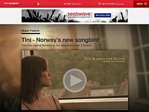 Artisten Tini holder konsert om bord i rute DY612 fra Oslo til Bergen 2. oktober kl. 13.20