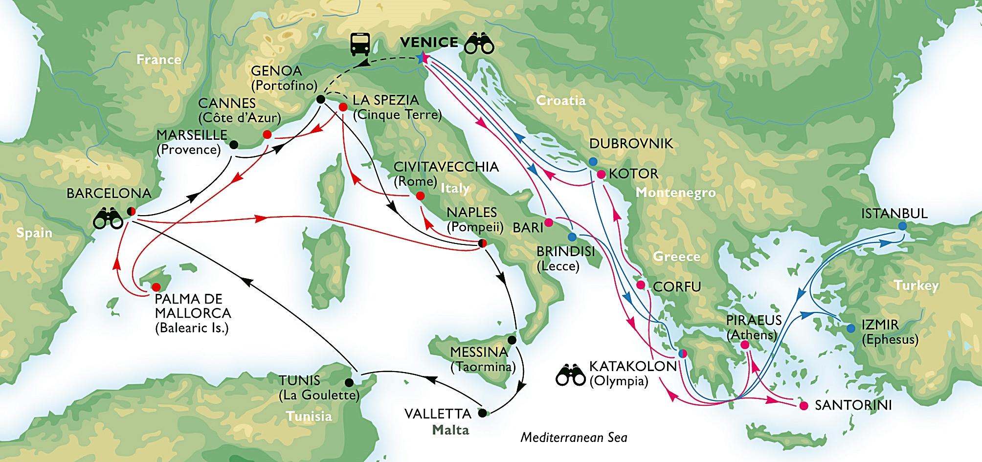 kart over middelhavet MSC Cruises` nye Grand Tours: Supercruise – 22 destinasjoner på én  kart over middelhavet