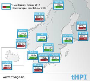 Hotellpriser i Norden - trivago - februar 2015